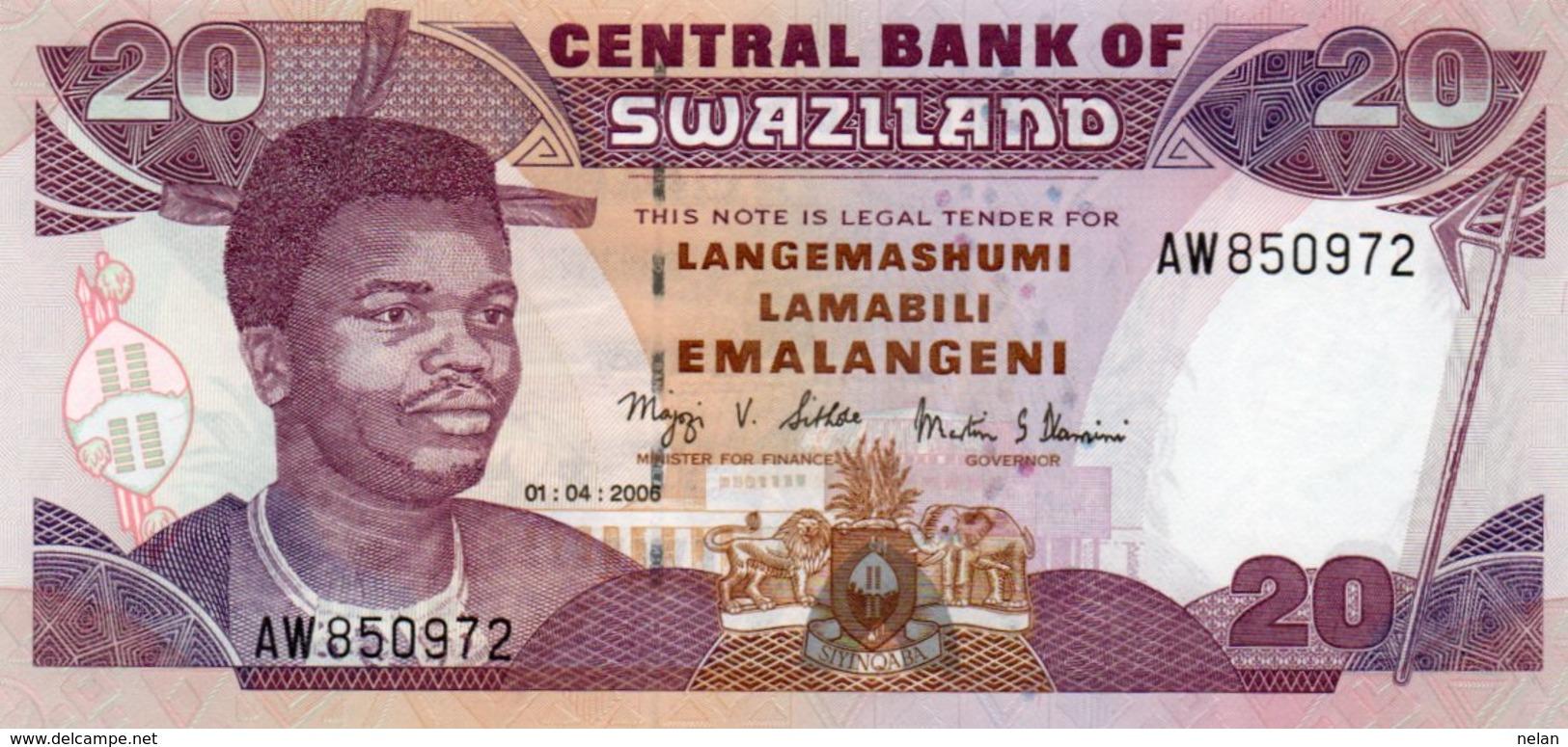 SWAZILAND 20 EMALANGENI 2006 P-30 UNC - Swaziland