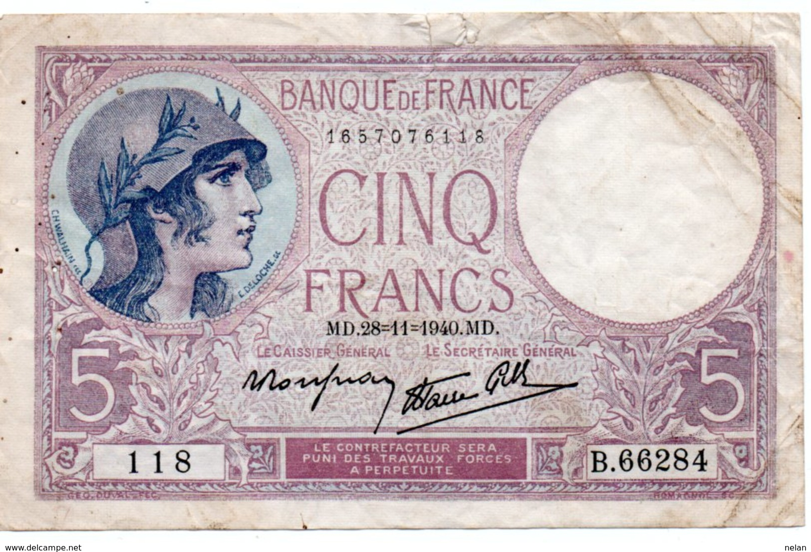 FRANCIA 5 FRANCS 1940  P-83a10 VG - 1871-1952 Antiguos Francos Circulantes En El XX Siglo