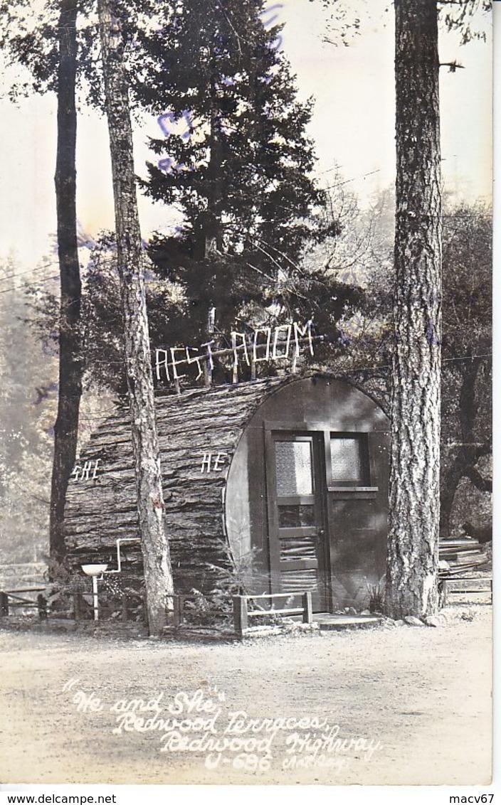 U.S.  REAL  PHOTO  REDWOOD  HIGHWAY,  REST  ROOM  CALIF. COAST   Used    1944 - Big Sur