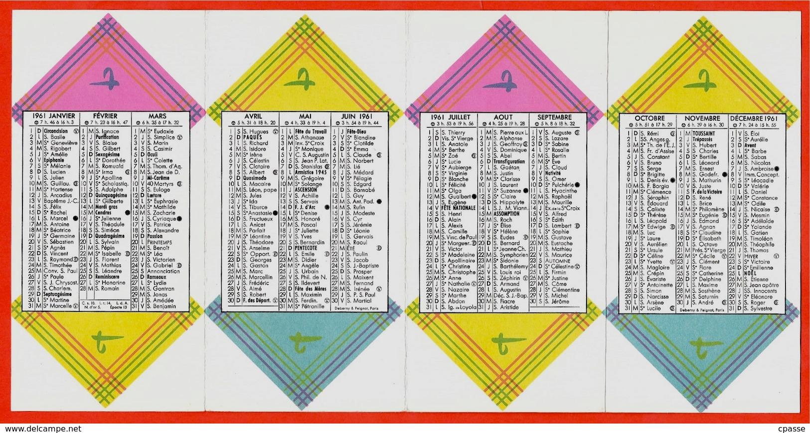 """Calendrier Petit Format 1961 """"A La Toile D'Avion"""" Tissgar Tissus Mouchoirs Boussac - Calendriers"""
