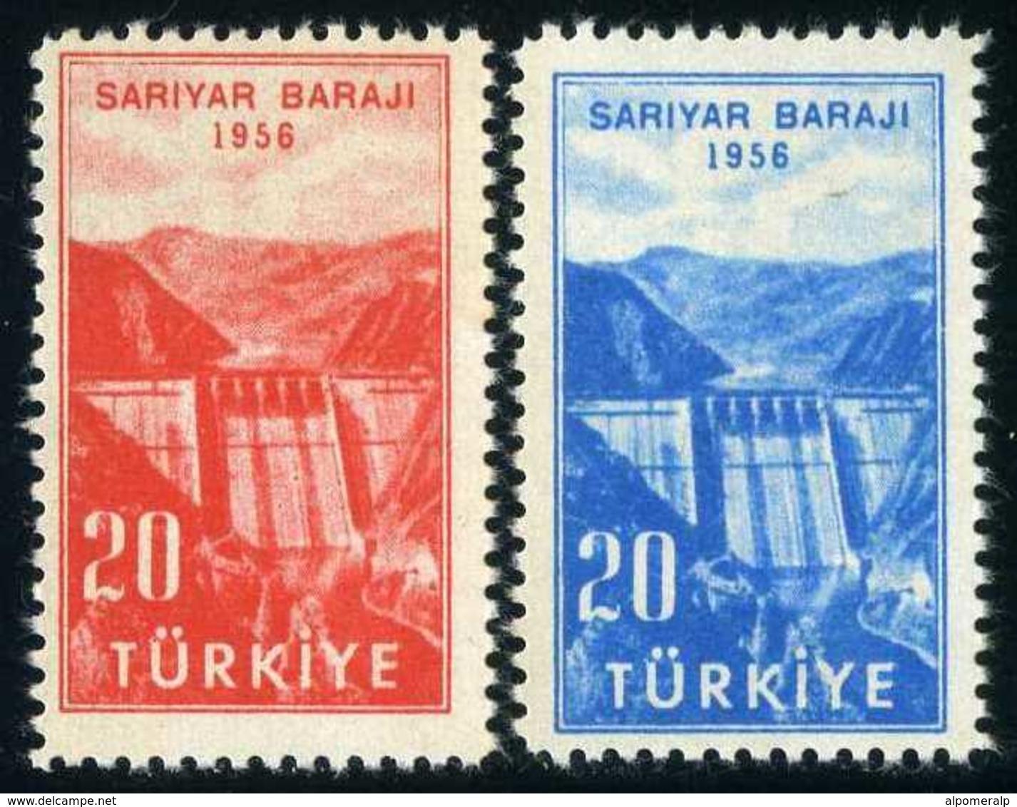 TURKEY 1956 (**) - Mi. 1488-89, The Inauguration Of Sariyer Dam. - 1921-... Republic
