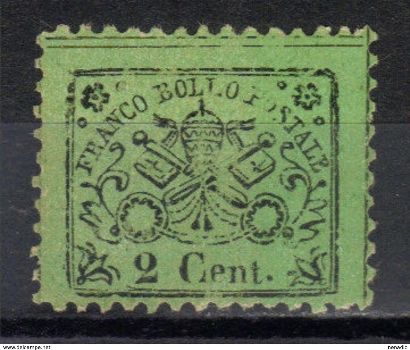 Papal States,Definitive 2 C 1868.,MNG - Etats Pontificaux