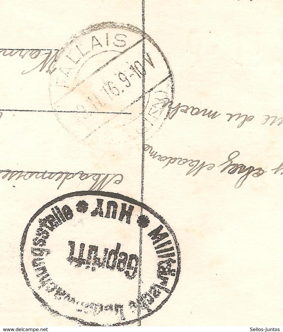 JS578 / Guerre-Oorlog 14-18 TP Oc 11-12 S/CP Fantaisie C.Huy 1916+censure V.Warnant-Dreye C.Fallais En Arrivée - [OC1/25] General Gov.