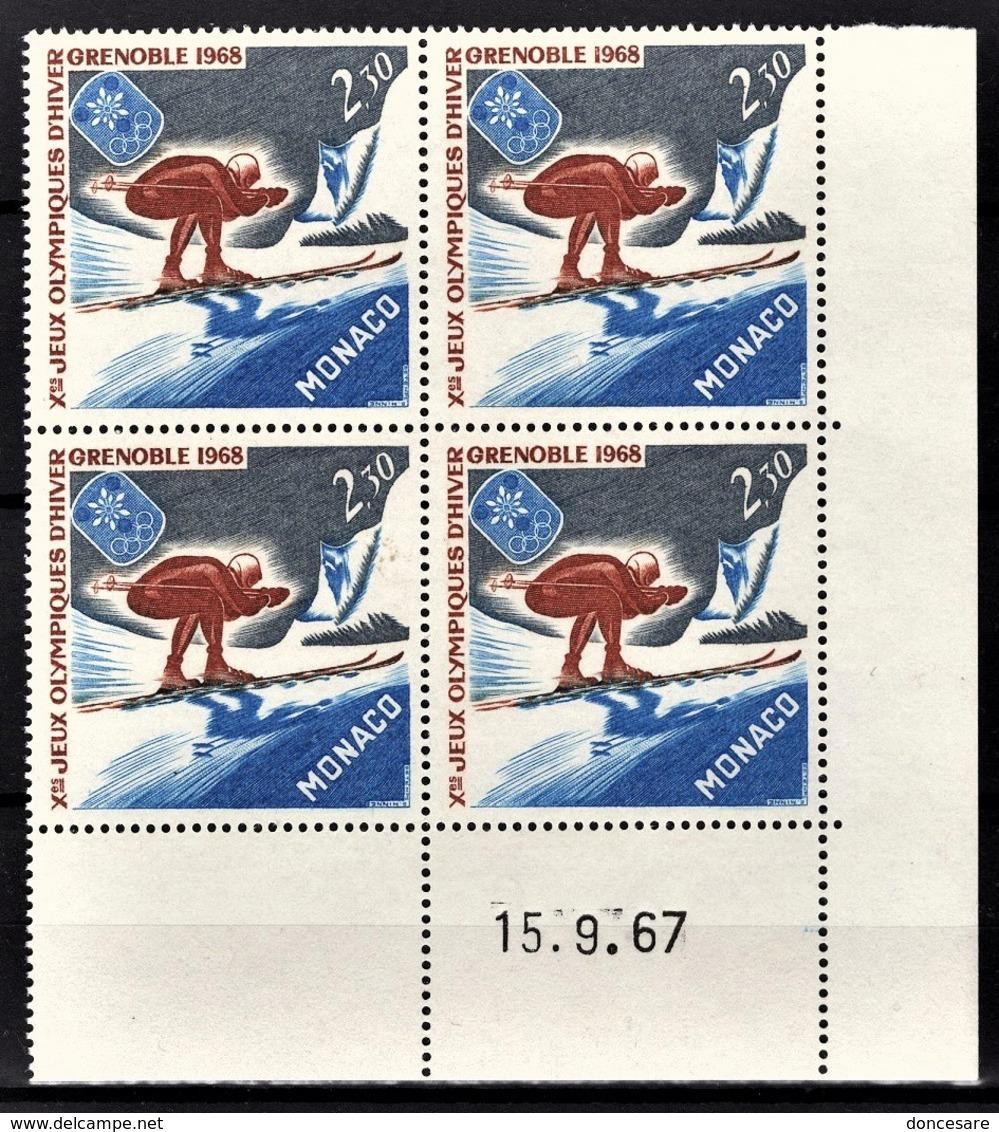 MONACO 1967 / BLOC DE 4 TP / N° 733 NEUFS** COIN DE FEUILLE / DATE - Mónaco