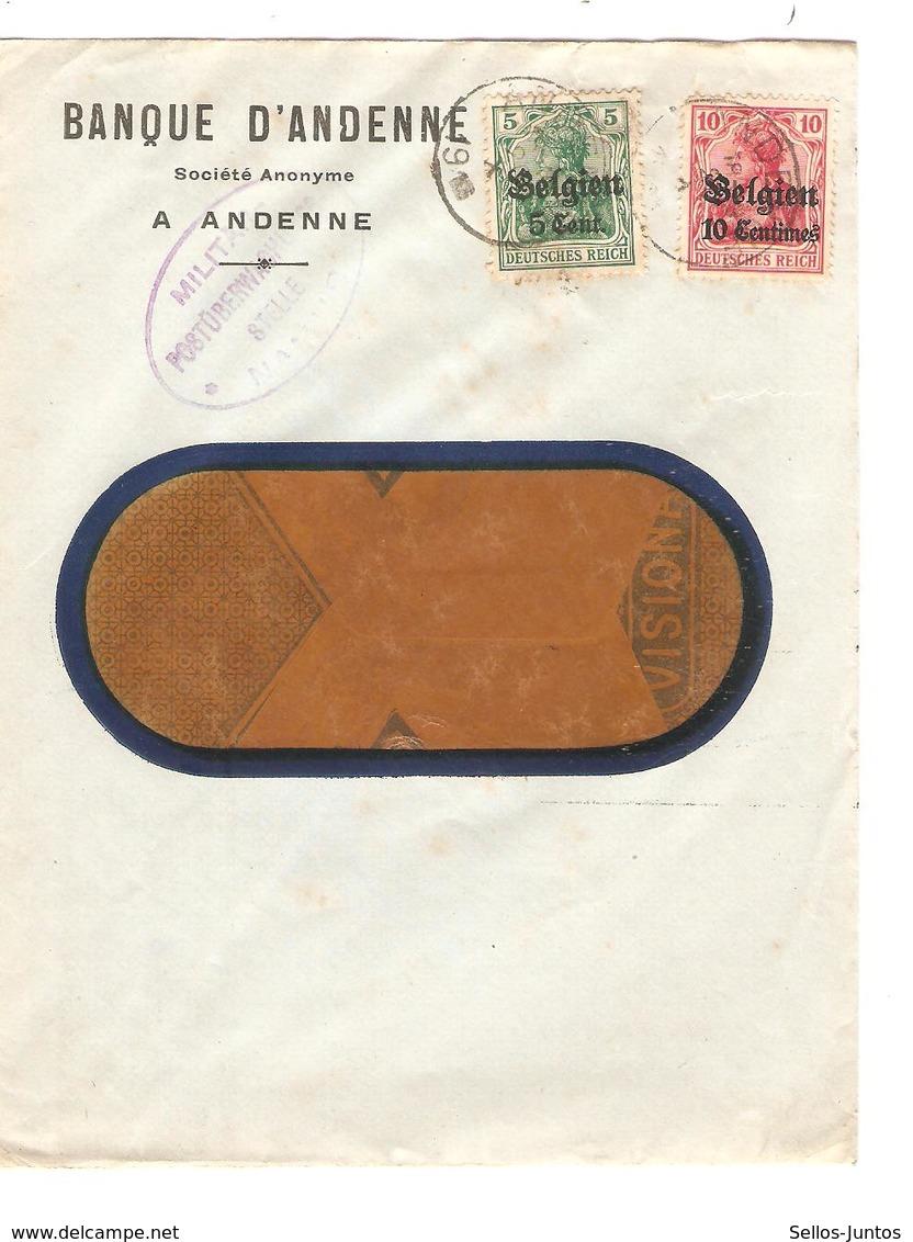 JS589/ Guerre-Oorlog 14-18 TP Oc 3-11 S/L.Entête Banque Andenne C.Andenne 1916 Censure Namur - WW I