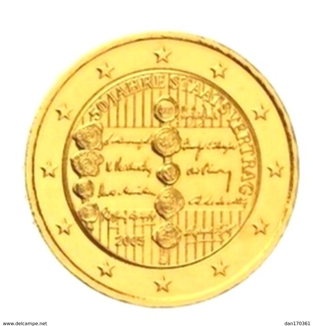 AUTRICHE  2005 - 2 EUROS COMMEMORATIVE - TRAITE D'ETAT AUTRICHIEN - PLAQUE OR - Autriche