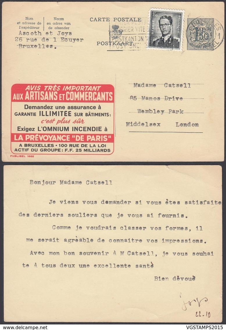 Publibel 1668 - 1F50 Voyagé Vers Londre - Thématique Assurances (6G23184) DC0734 - Stamped Stationery