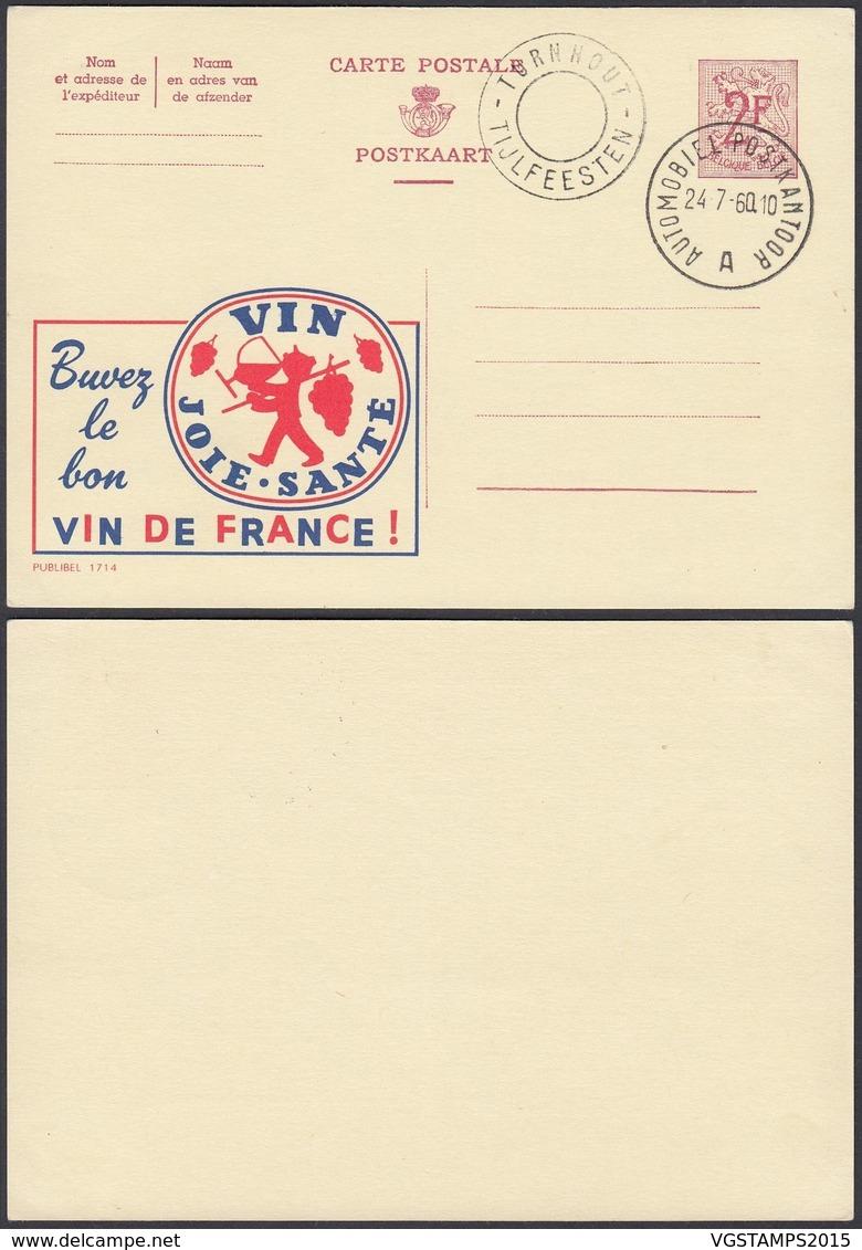 Publibel 1714 - 2F - Thématique Alcool, Vin, Raisin (6G23184) DC0749 - Stamped Stationery