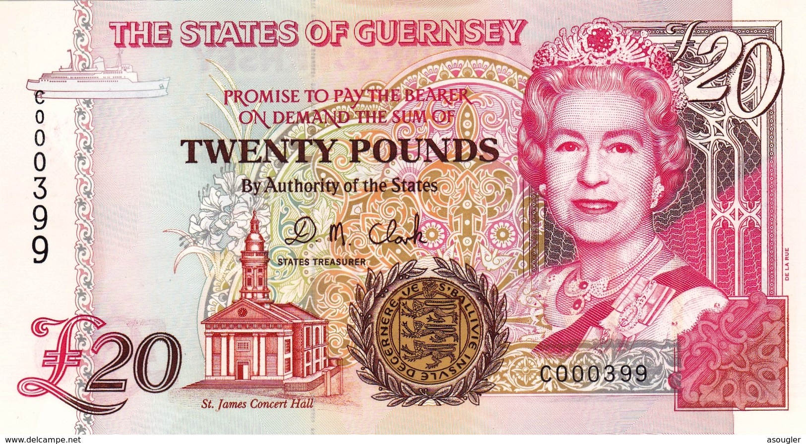"""GUERNSEY 20 POUNDS ND 1996 UNC P-58b LOW SERIAL NUMBER 000399 """"free Shipping Via Registered Air Mail"""" - Guernsey"""
