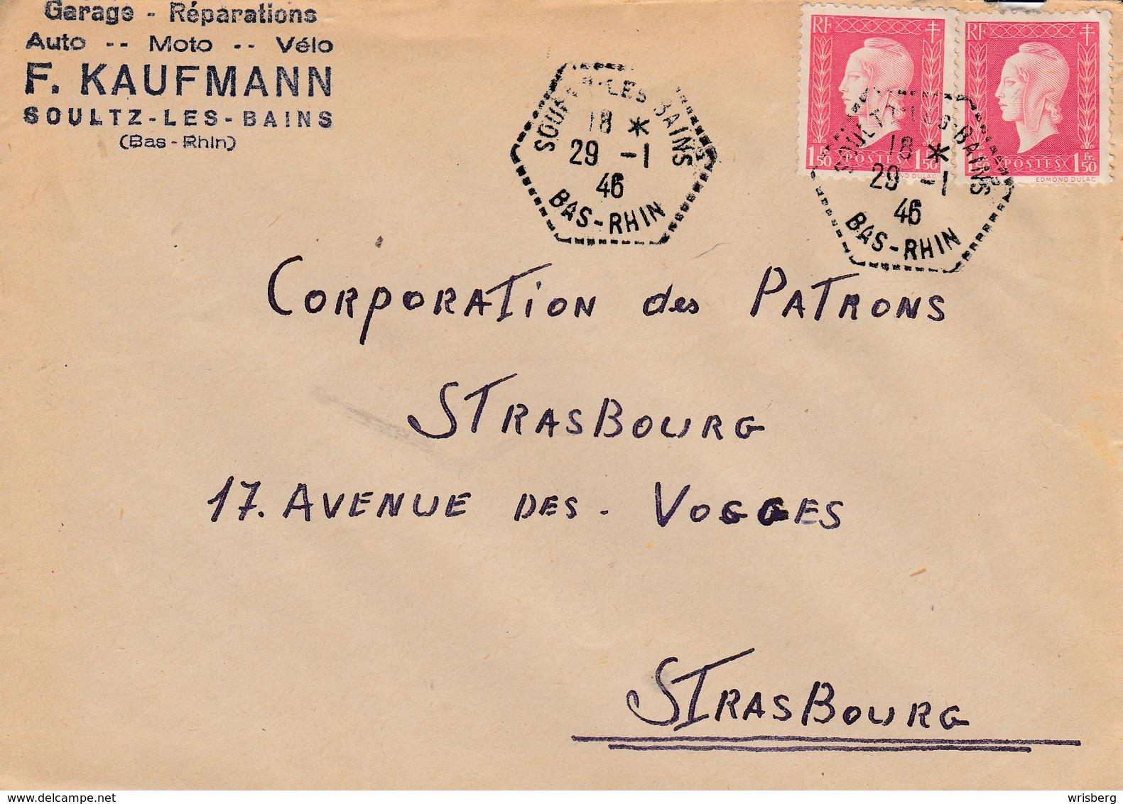 Env Affr Y&T 691 X 2 Obl SOULTZ LES BAINS Du 29 1.46 Adressée à Strasbourg - 1877-1920: Periodo Semi Moderno