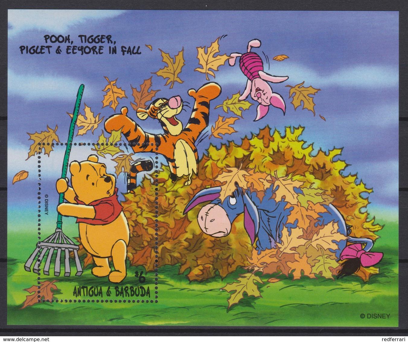 2430  Walt Disney  Antigua & Barbuda  1998 - Winnie The Pooh And Friends Over The Seasons . - Disney