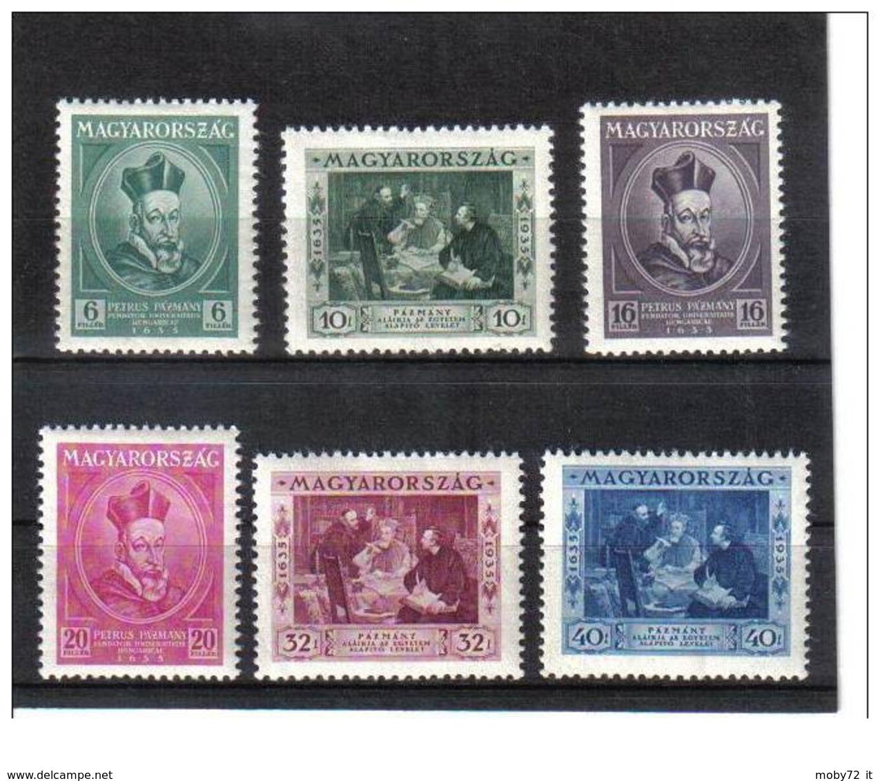 Ungheria - 1935 - Nuovo/new MH - Cardinal Pázmány - Mi N. 522/27 - Ongebruikt