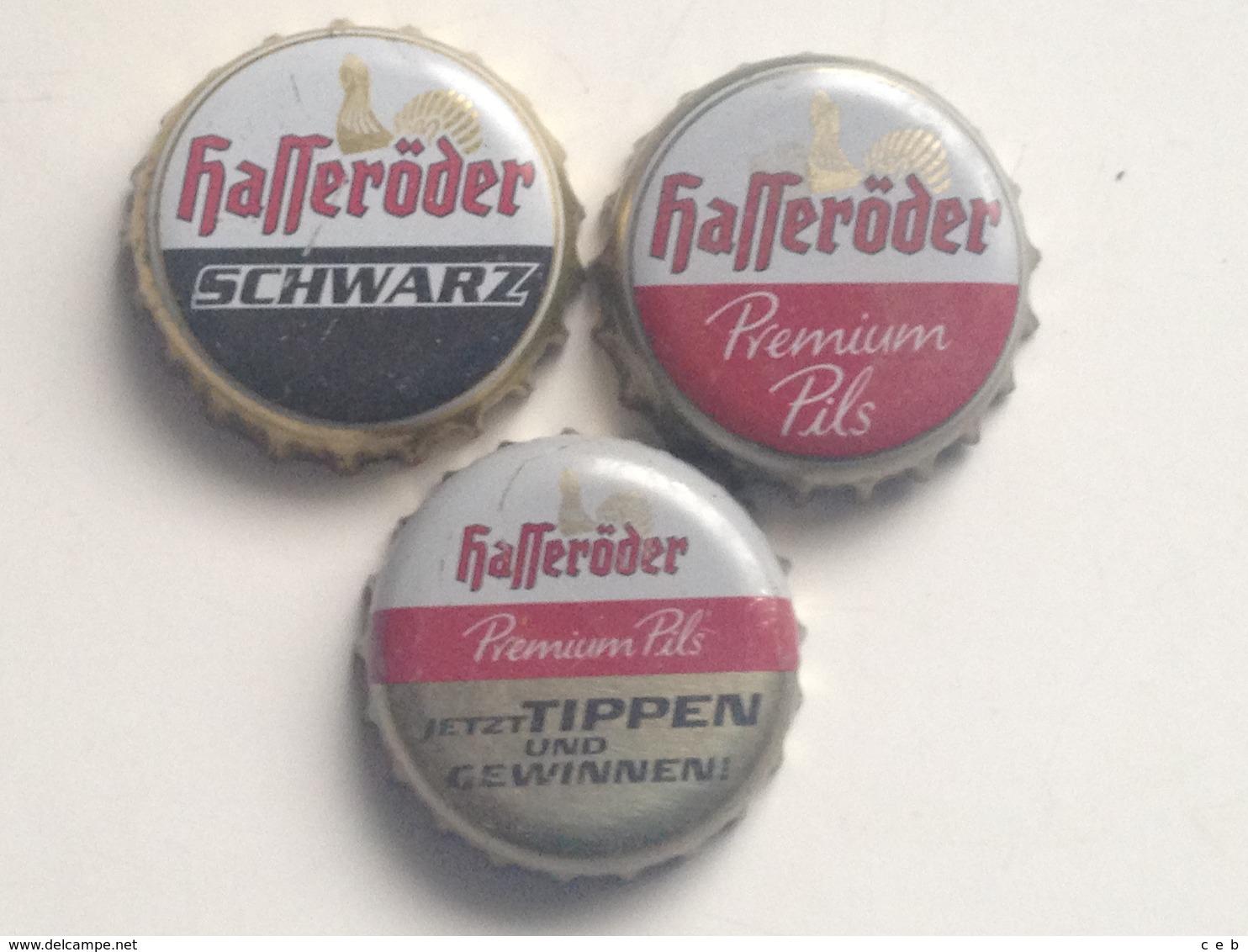 Lote 3 Chapas Kronkorken Caps Tappi Cerveza Hasseroder. Alemania - Birra