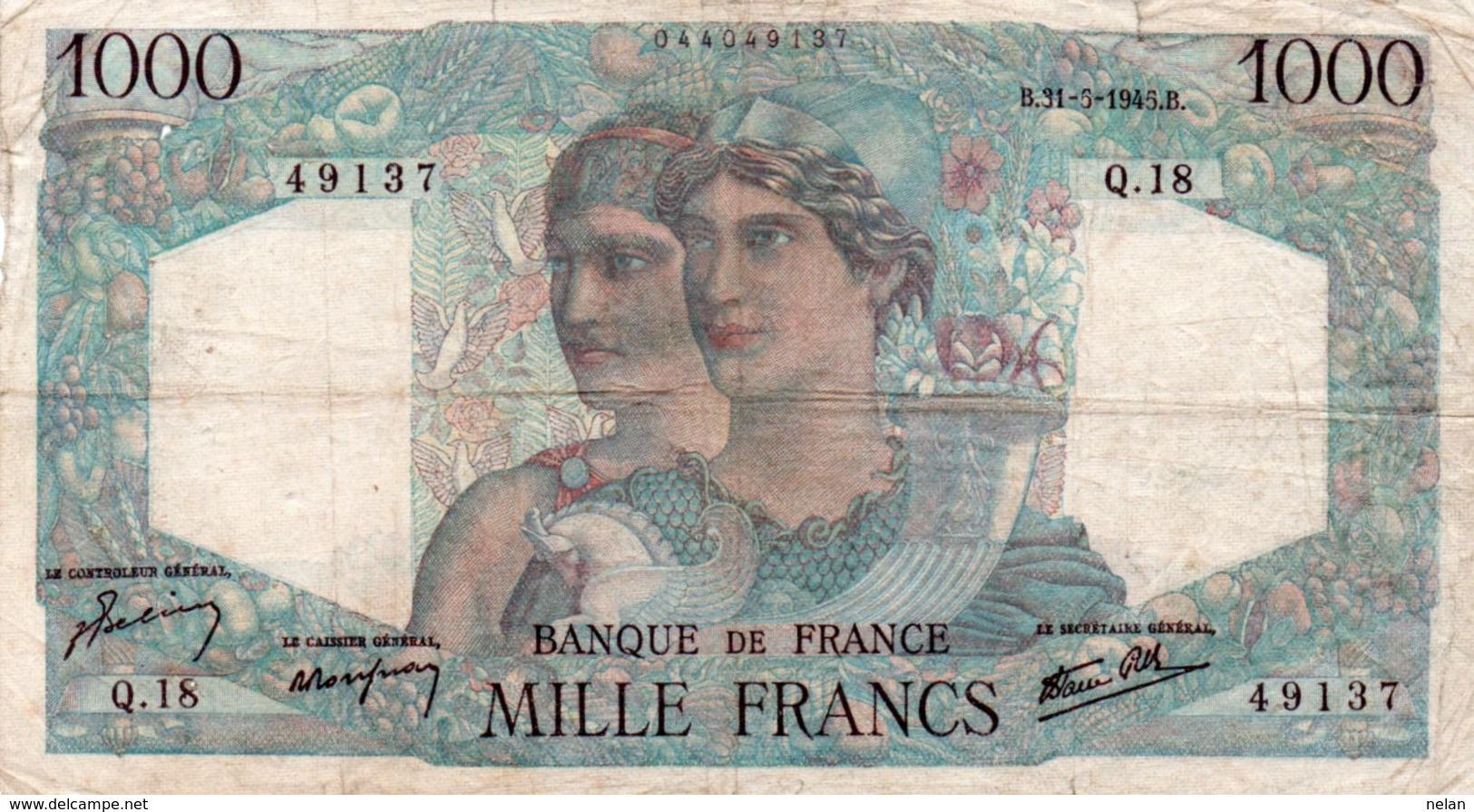 FRANCIA 1000 FRANCS 1945   P-130 - 1871-1952 Antichi Franchi Circolanti Nel XX Secolo
