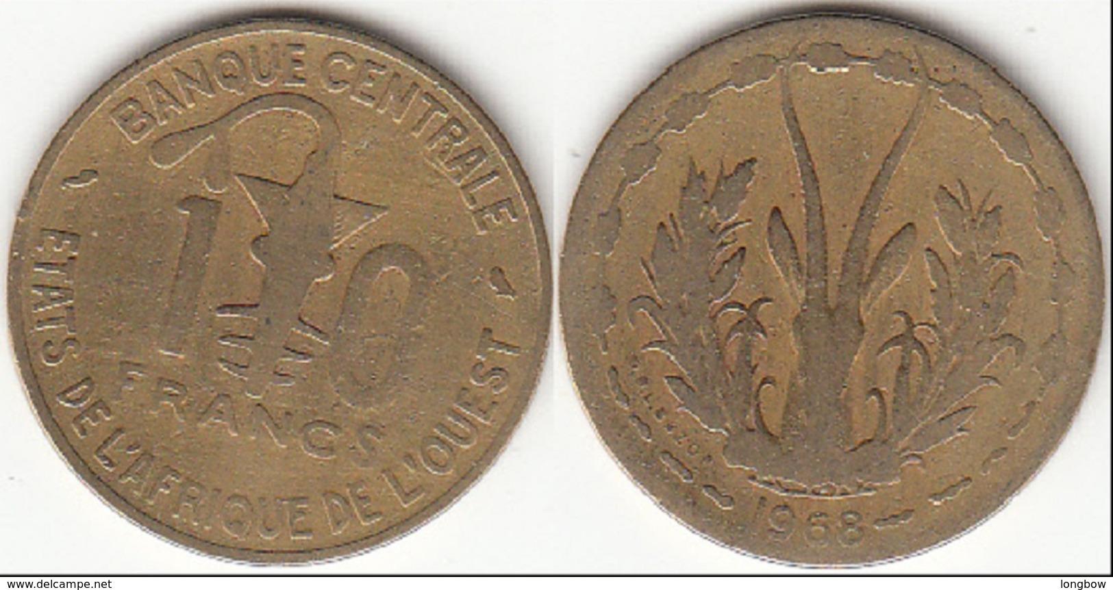 Repubblica Centro Africana 10 CAF Francs 1968 KM#1a - Used - Africa Orientale E Protettorato D'Uganda