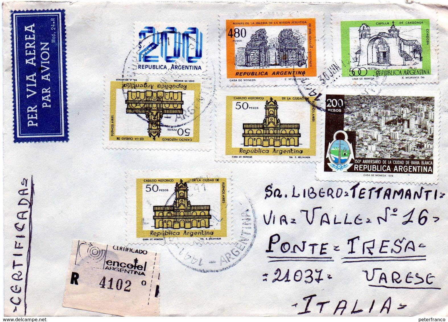 B - Argentina    - Busta P.A. Raccomandata . Viaggiata Per L'Italia - Argentina
