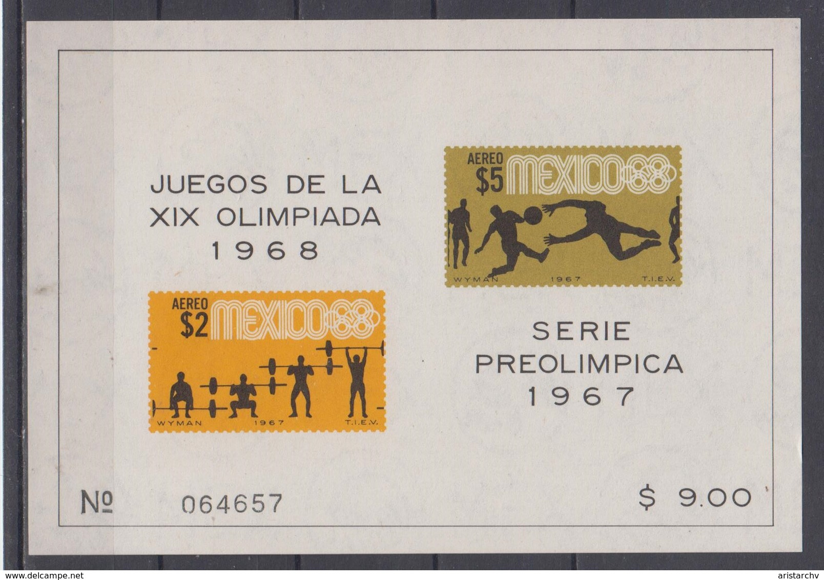 MEXICO 1968 OLYMPIC GAMES FOOTBALL WEIGHTLIFTING S/SHEET - Sommer 1968: Mexico