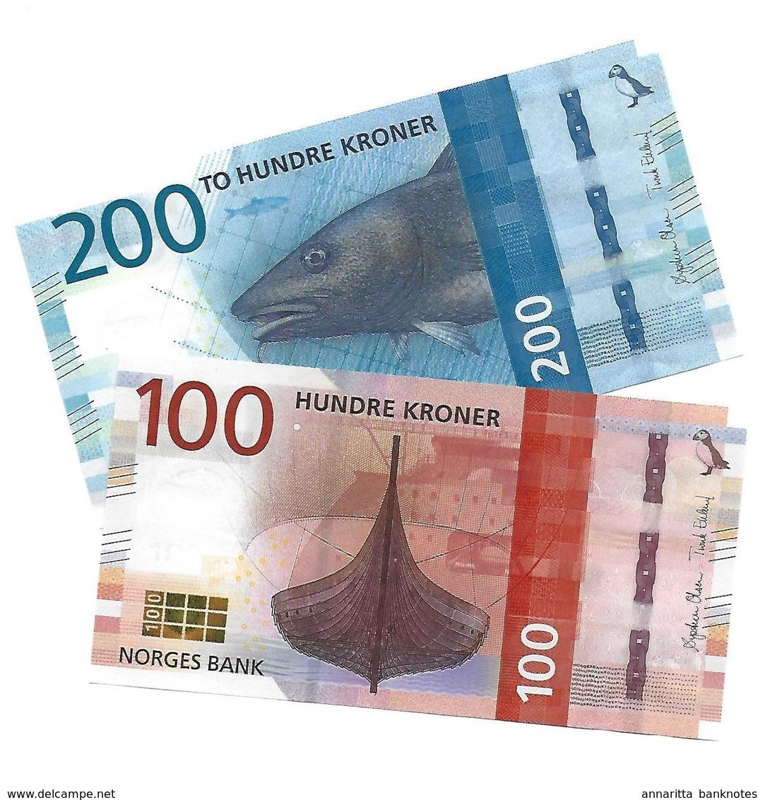NORWAY 100 & 200 KRONER 2016 P.54-55 UNC [NO054a-55a] - Norvegia