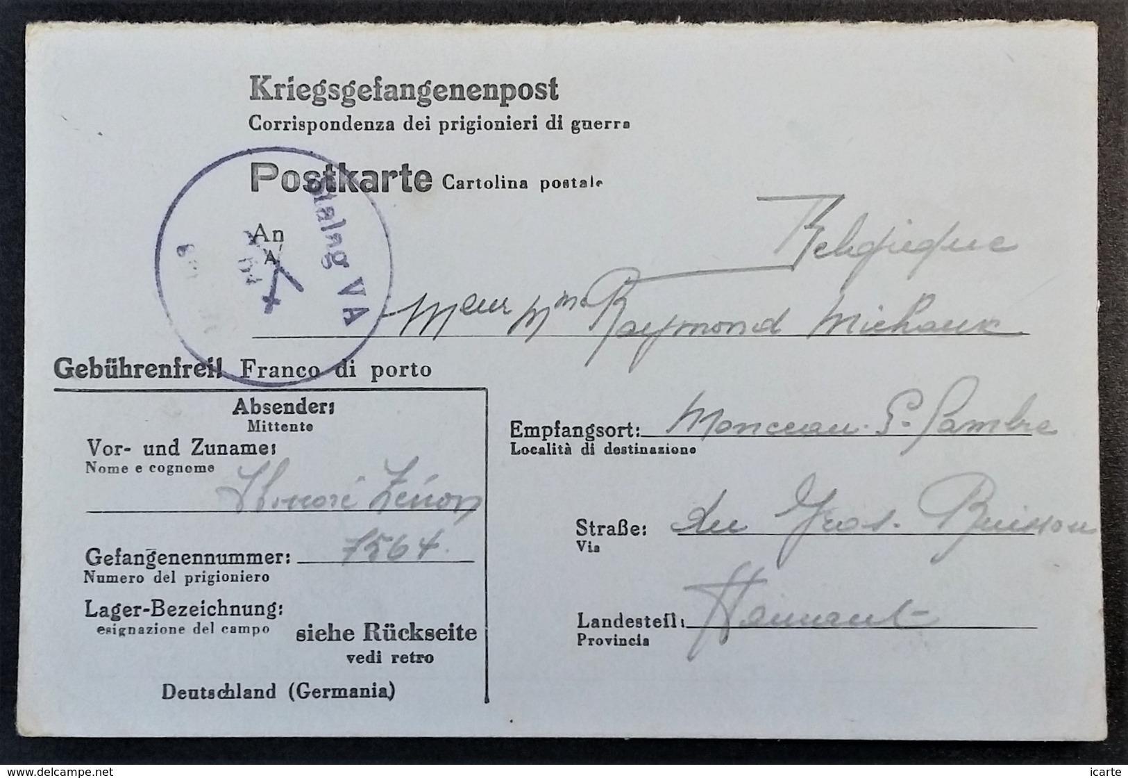 CP Allemand-italien Prisonnier De Guerre STALAG V A Censure Illustrée 2 épées Croisées > Monceau-sur-Sambre Mai 1944 - Marcophilie (Lettres)