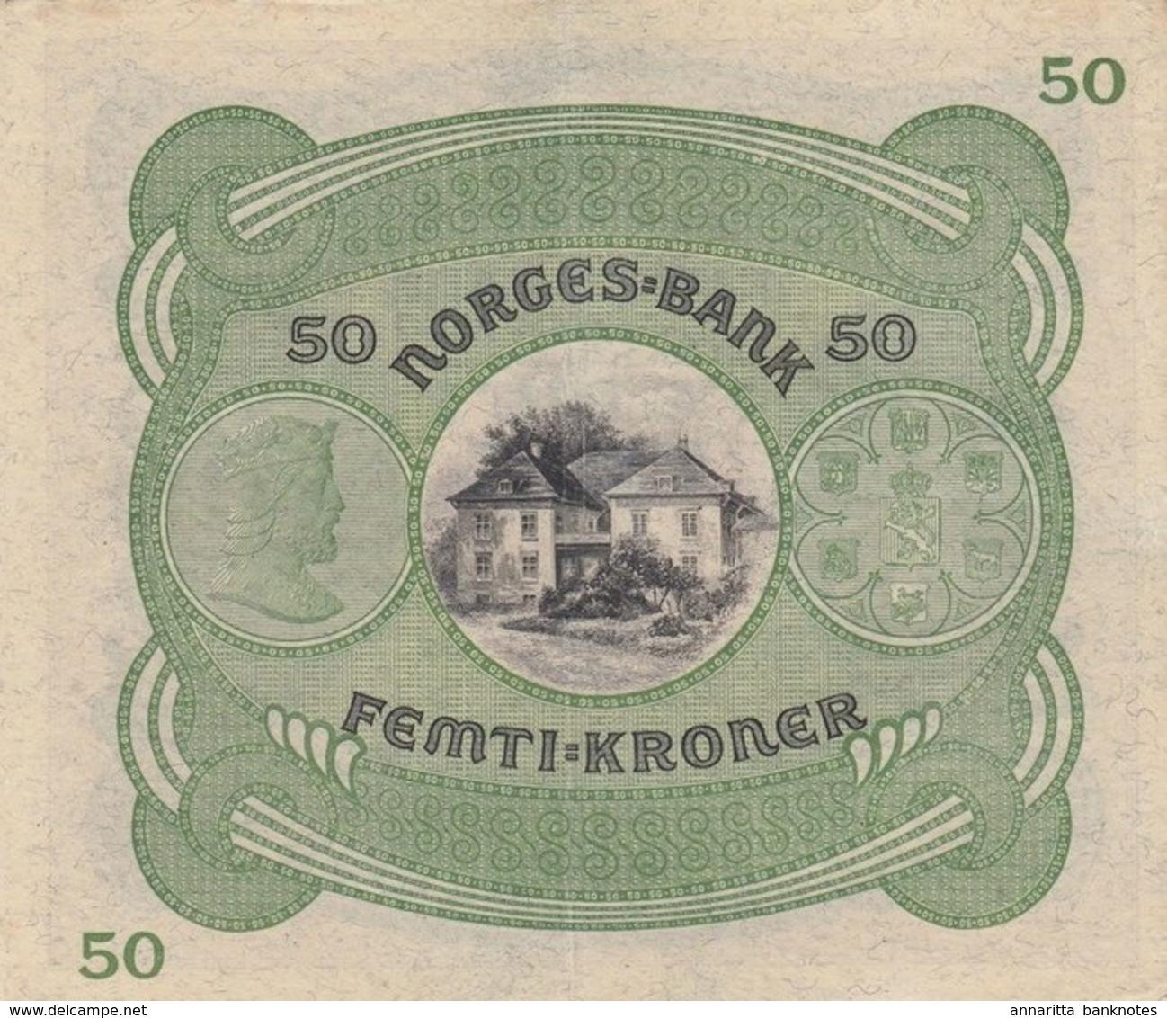 * NORWAY 50 KRONER 1942 P-9d XF/AU [NO009d] - Norway