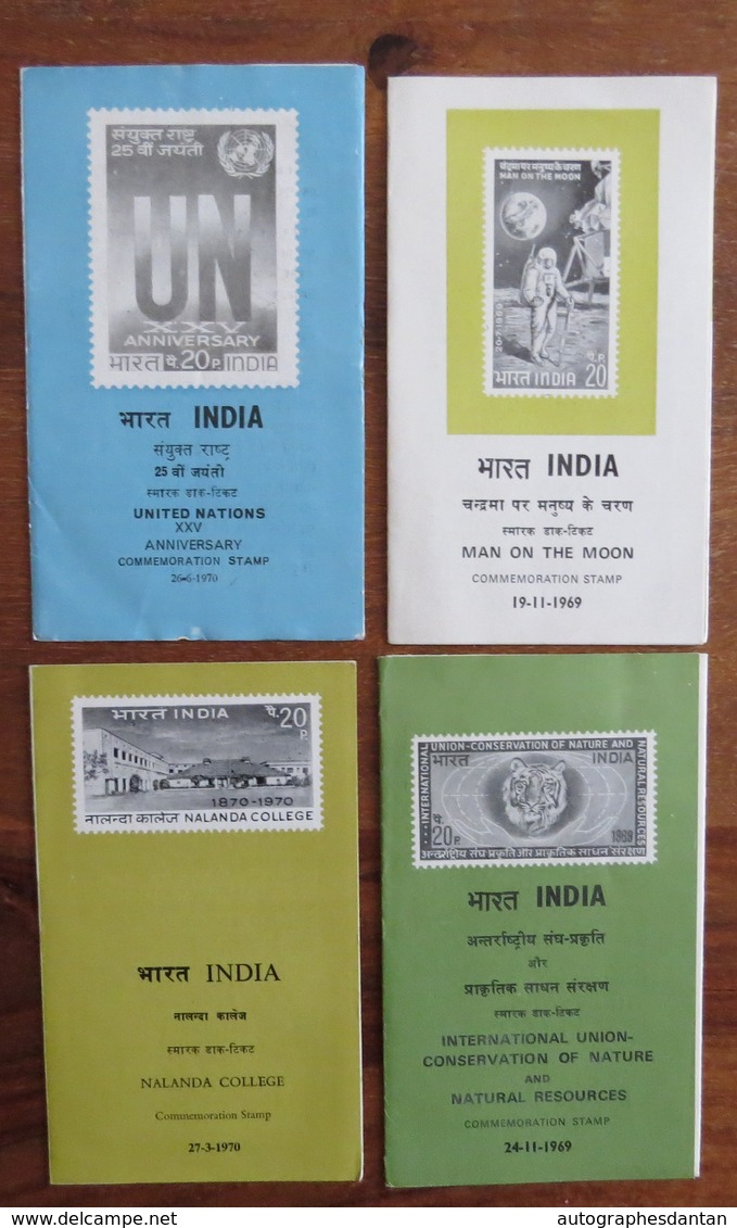 INDE - INDIA - Lot 4 Carnets - Commemoration Stamp - Nallanda College - Man On The Moon - United Nation - 1969 1970 - Autres