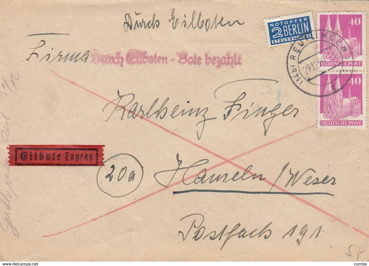 LETTRE. ALLEMAGNE. 2 BERLIN NOTOPFER EILBOTE EXPRES - Bizone