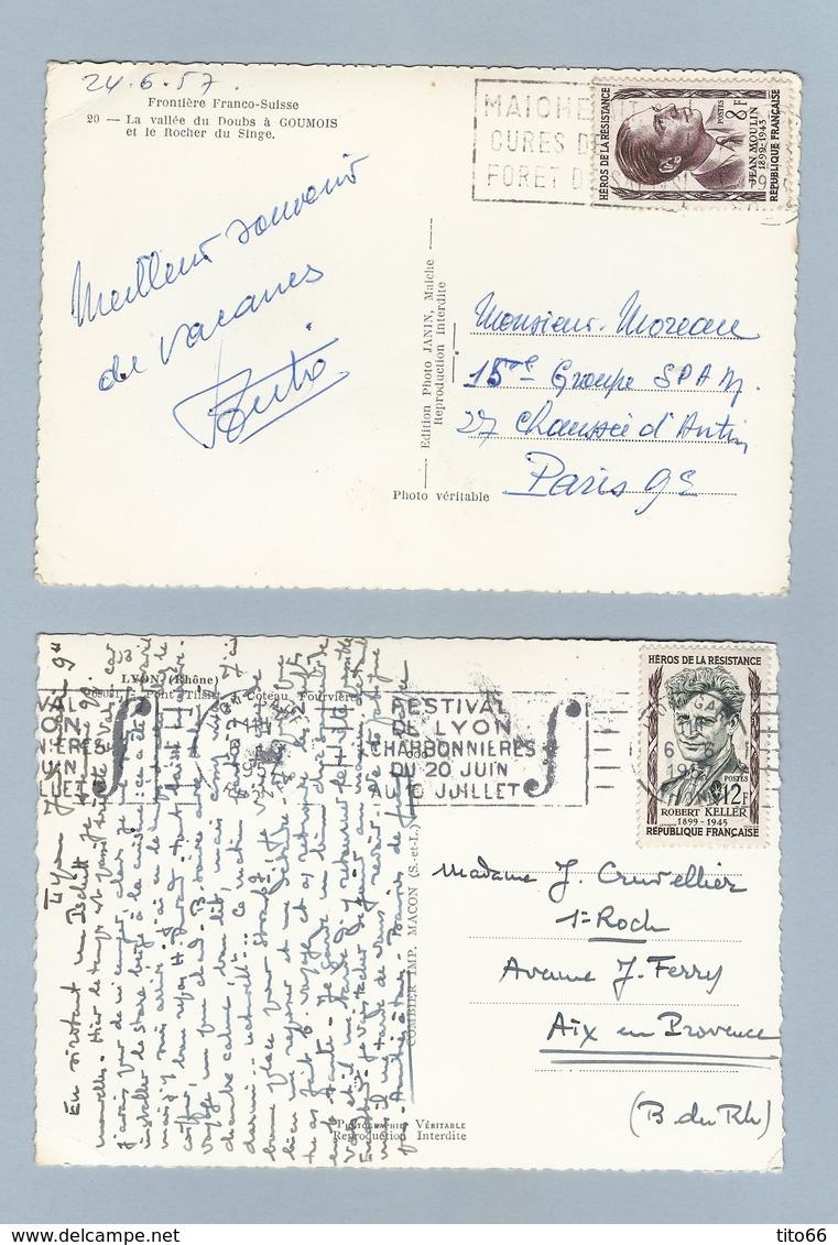 N° 1100 Et 1102 Sur 2 CP De 1957 - Marcophilie (Lettres)