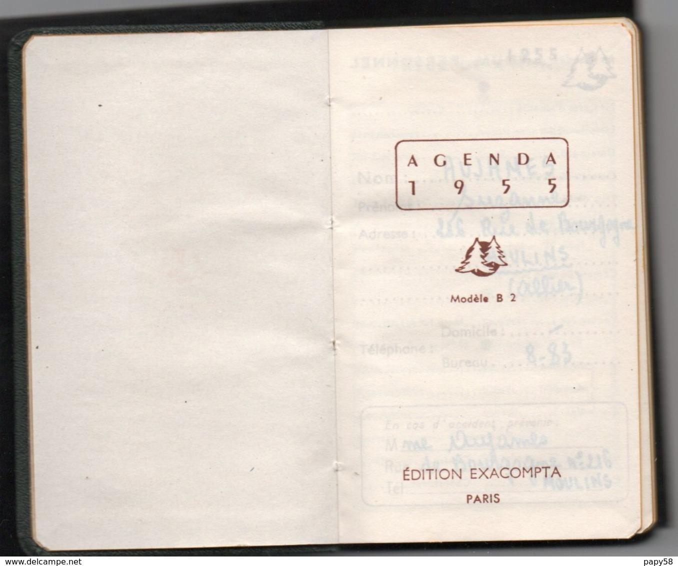 Calendriers > Petit Format : 1941-60 Agenda 1955 - Calendriers