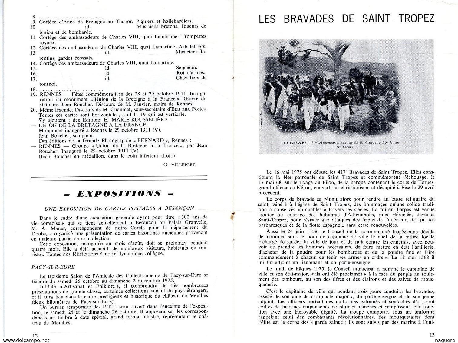 LE CARTOPHILE  SEPTEMB 1975  N° 38  -  20 PAGES LA CARTE POSTALE ILLUSTREE CIRCUIT DE LA PRESSE BRETAGNE A LA FRAN Etc . - French