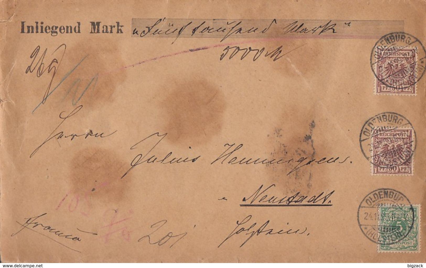 DR Wertbrief über 5000 Mark Mif Minr.46,2x 50 Oldenburg (Holstein) 24.11.99 - Deutschland