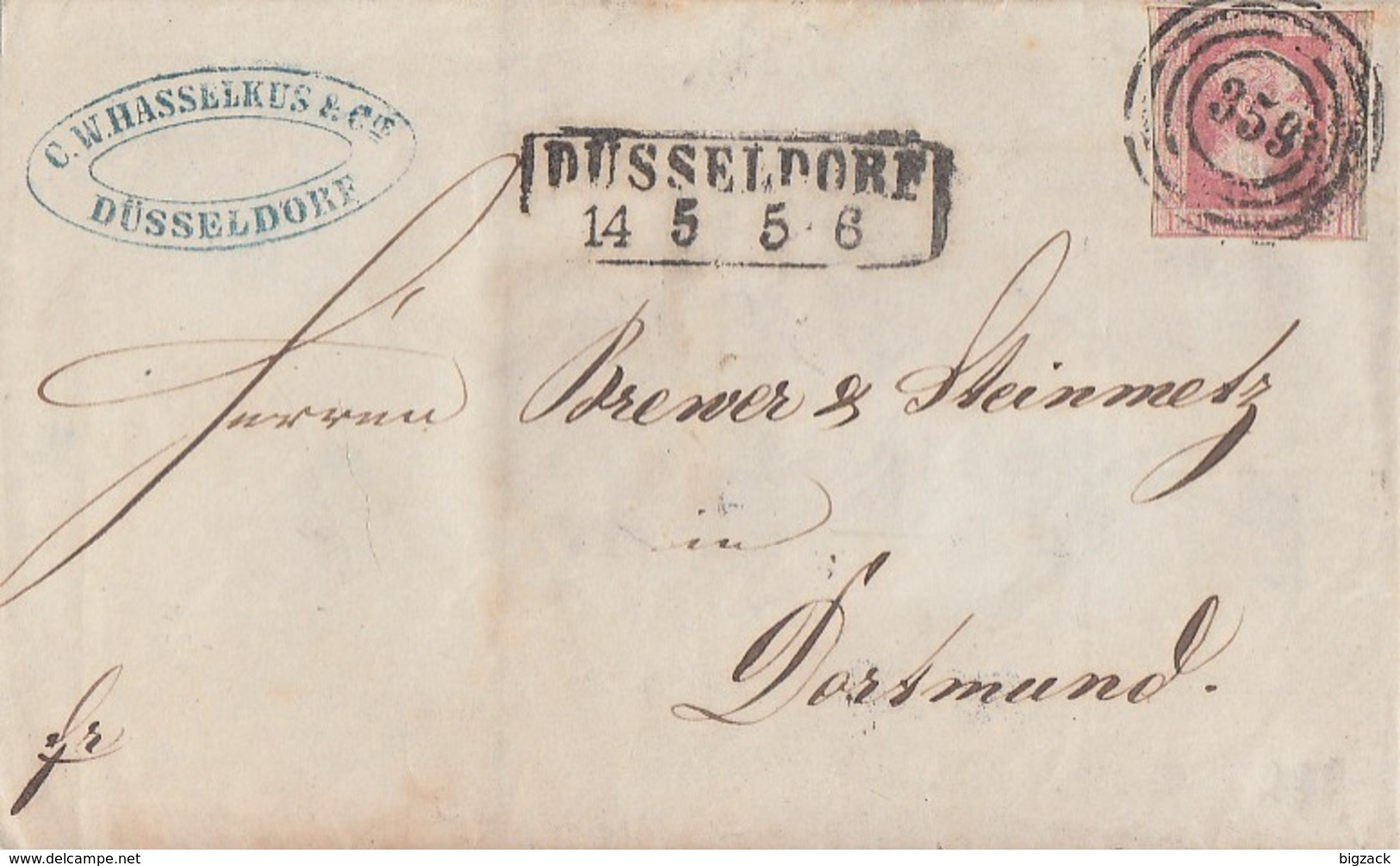 Preussen Brief EF Minr.6 Düsseldorf Nr.-St. 359 Gel. Nach Dortmund - Preussen