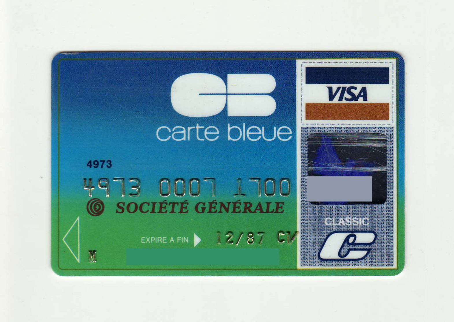 Societe Generale FRANCE Carte Bleue VISA Expired 1987 - Geldkarten (Ablauf Min. 10 Jahre)