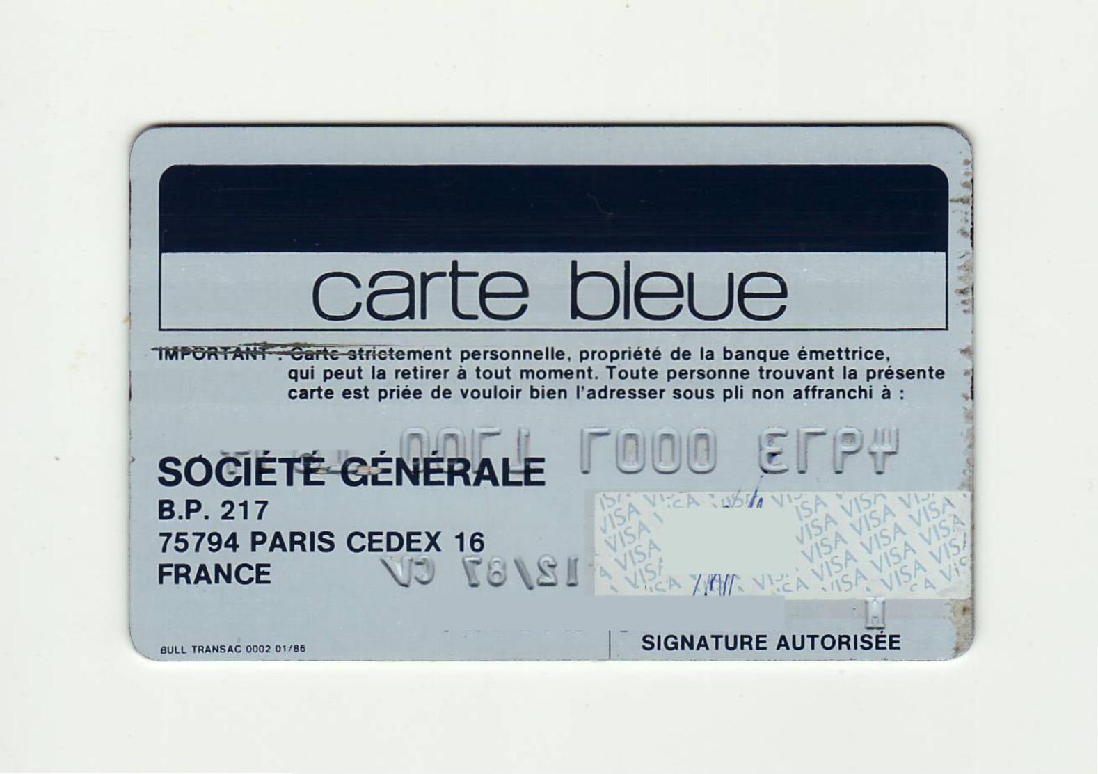 Societe Generale FRANCE Carte Bleue VISA Expired 1987 - Tarjetas De Crédito (caducidad Min 10 Años)