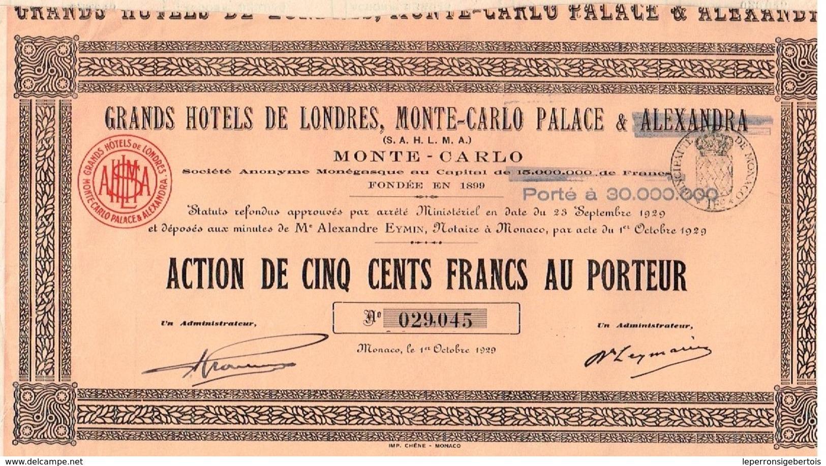 Action Ancienne - Grands Hotels De Londres, Monte-Carlo Palace & Alexandra - Titre De 1929 - - Tourisme