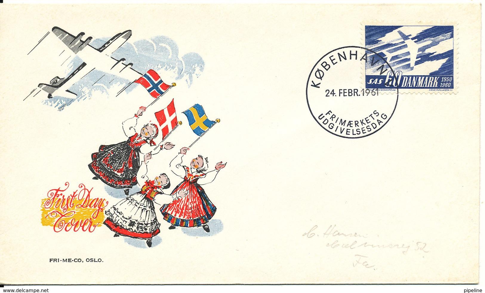 Denmark FDC 24-2-1961 SAS 10th Anniversary With Nice Cachet - FDC