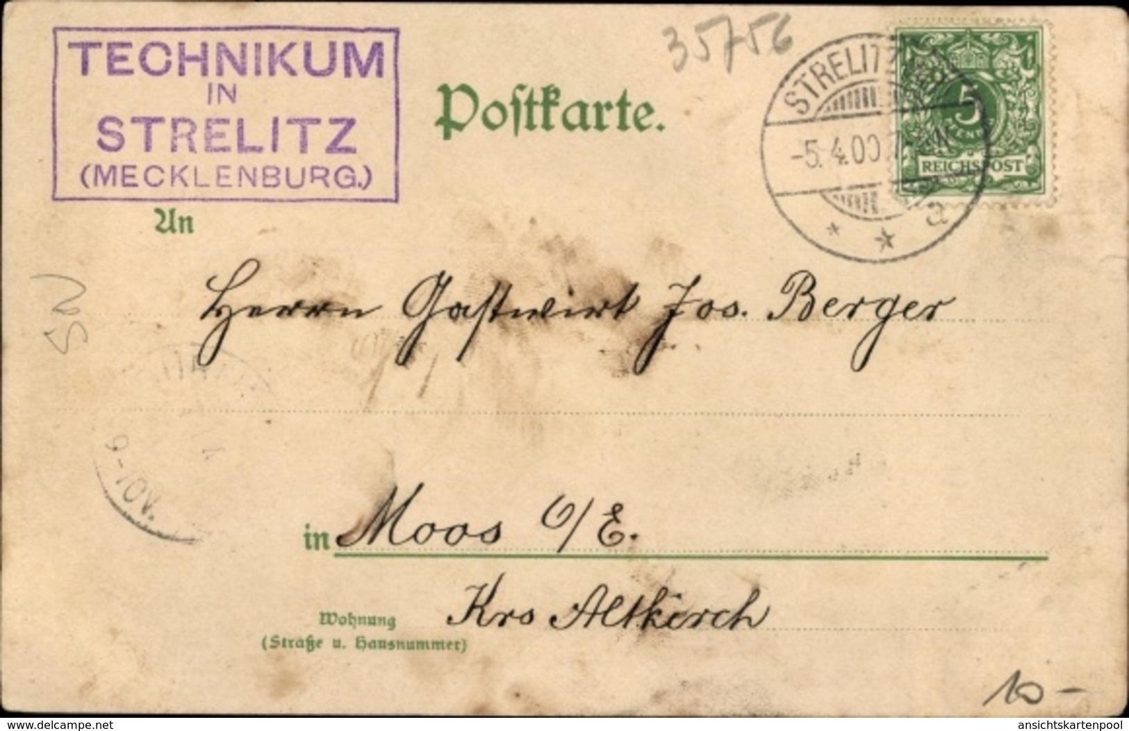 Lithographie Strelitz Alt Neustrelitz Mecklenburg Vorpommern, Technikum - Allemagne