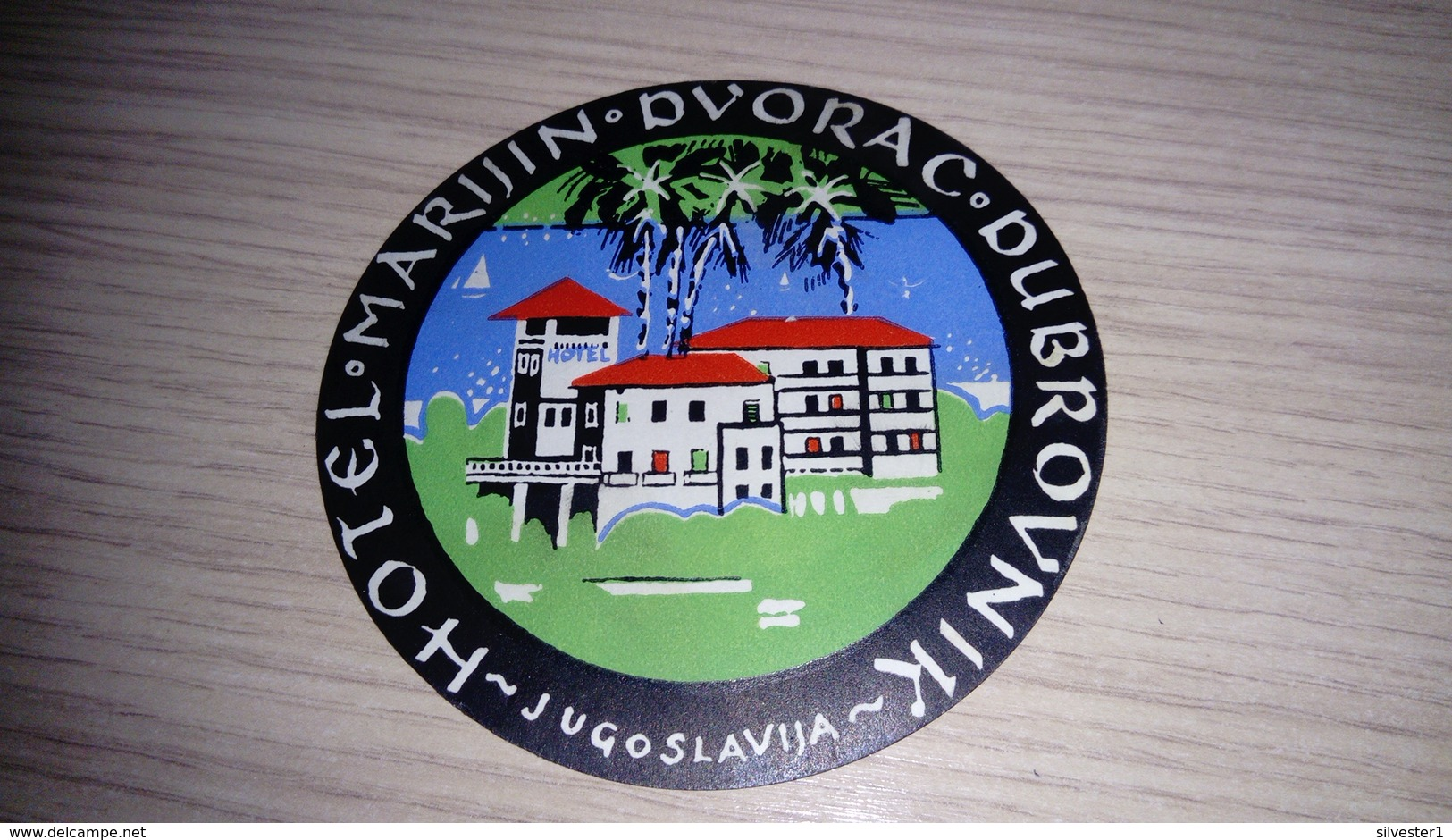 E1-Hotel Marjan Dvorac Dubrovnik Croatia Yugoslavia ,old HOTEL LUGGAGE LABEL ETIQUETTE ETICHETTA BAGAGE - Hotel Labels
