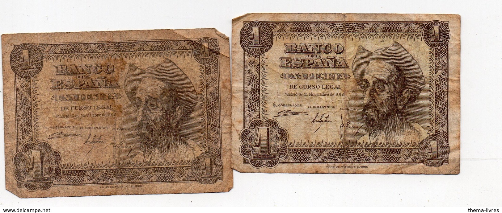 Espagne Lot De 2 Billets 1 Peseta 1951.. (PPP16041) - [ 3] 1936-1975 : Régence De Franco