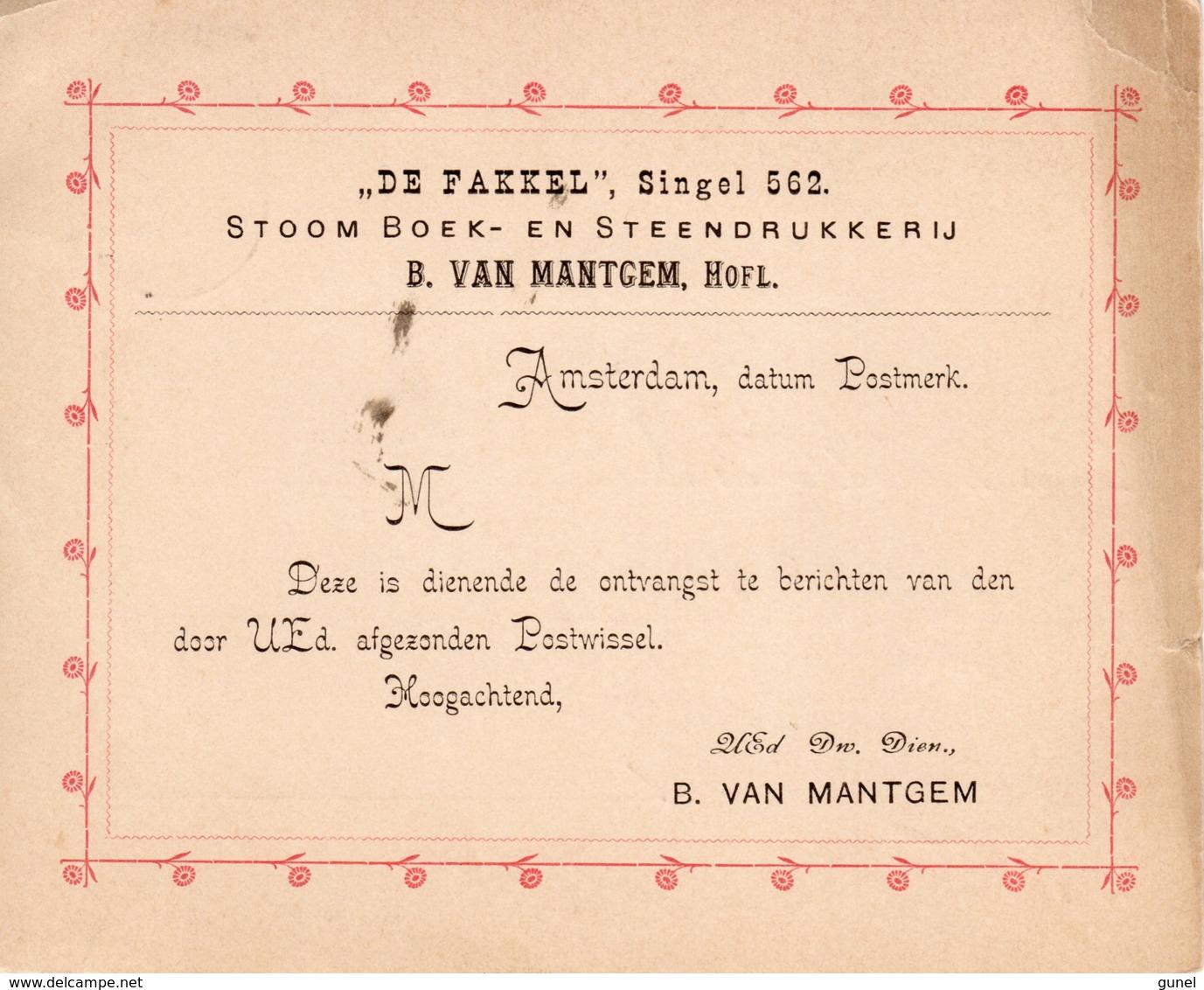 23 JUL 91 Drukwerk Als Ontvangstbevestiging Van Een Postwissel Van Amsterdam Naar Middelburg Met NVPH31 - Brieven En Documenten