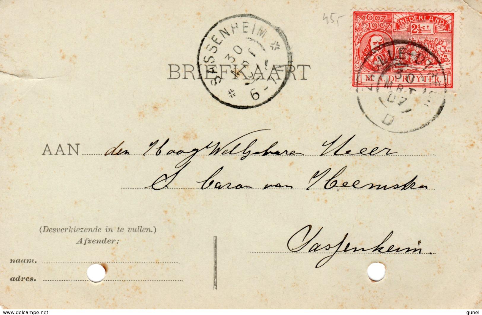 30 MRT 07 Gr.rond ZWOLLE-UTRECHT D  Op NVPH89 Op Corr.kaart Naar Sassenheim (perforatiegaatjes) - Periode 1891-1948 (Wilhelmina)