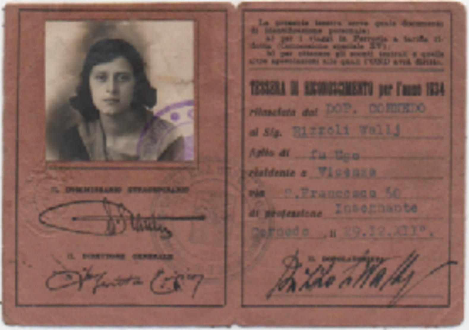 Tessera Opera Nazionale Dopolavoro Anno XII (1934). Dopolavoro Dipendenti Comunali Vicenza - Historical Documents