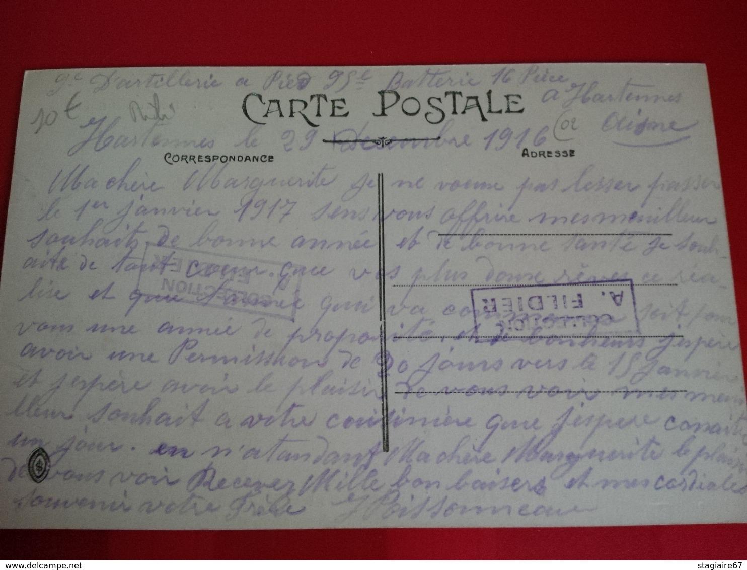 ARTILLERIE LOURDE FRANCAISE AVEC SES TRACTEURS CORRESPONDANCE MILITAIRE HARTENNES AISNE - Matériel