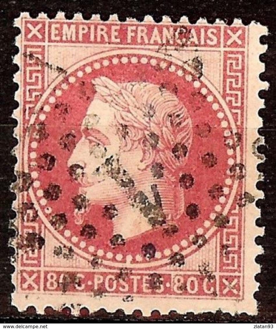 SUPERBE NAPOLEON N°32a 80c Rose Vif Oblitéré ETOILE N°1 Cote 45 € PAS D'AMINCI - 1863-1870 Napoléon III Lauré
