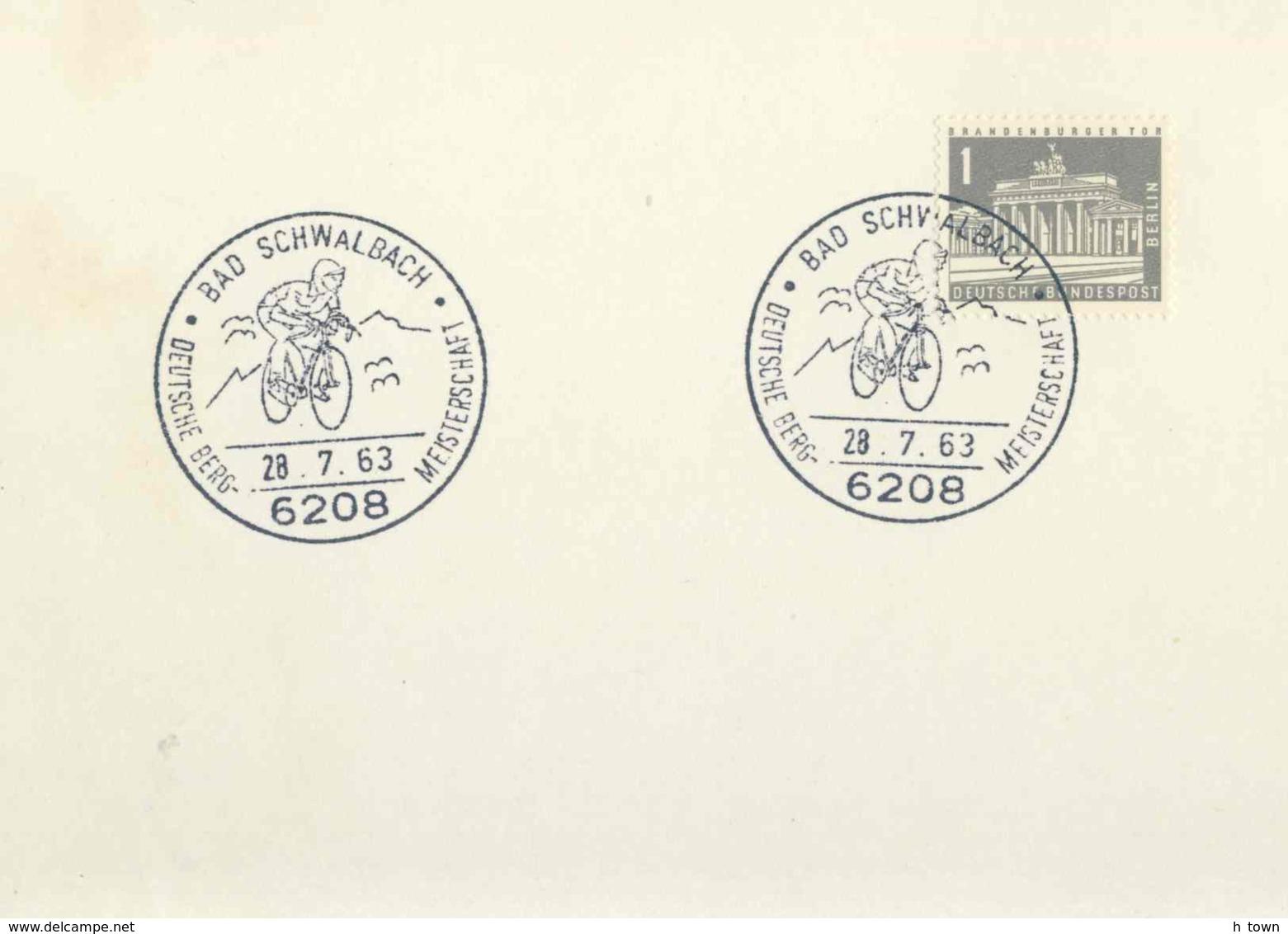 7188  Course De Cyclisme: Oblit. Temp. D'Allemagne, 1963 -  Cycling Mountain Race. Bicycle Vélo - Radsport