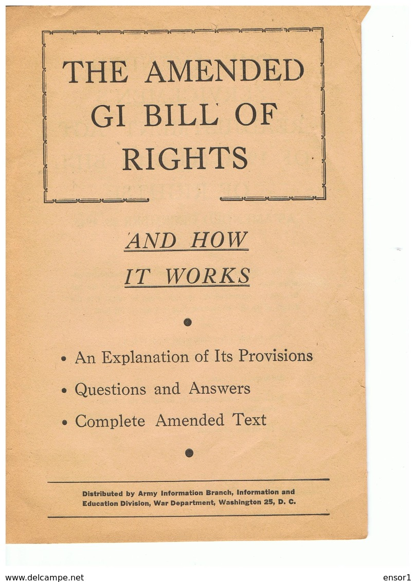 USA GI Bill Of Rights - Forces Armées Américaines