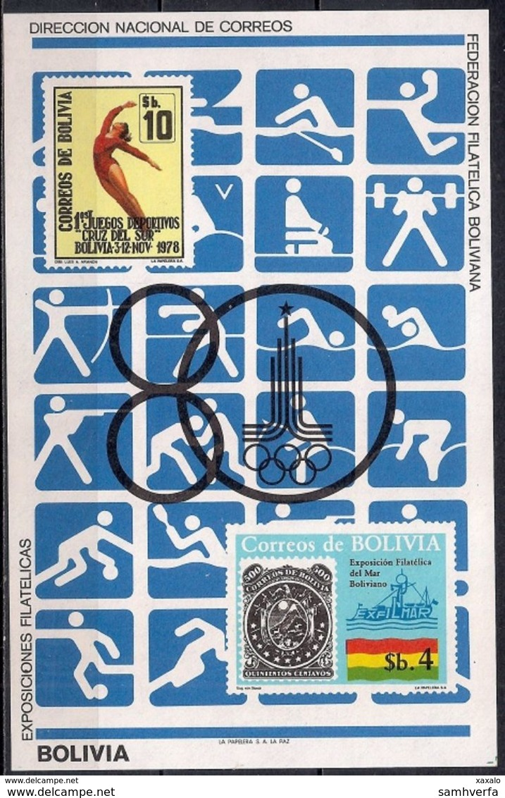 Olympic Games - Moscow - Sports - Block Bolivia 1980 (Cat. + 60 €) MINT - Bolivia