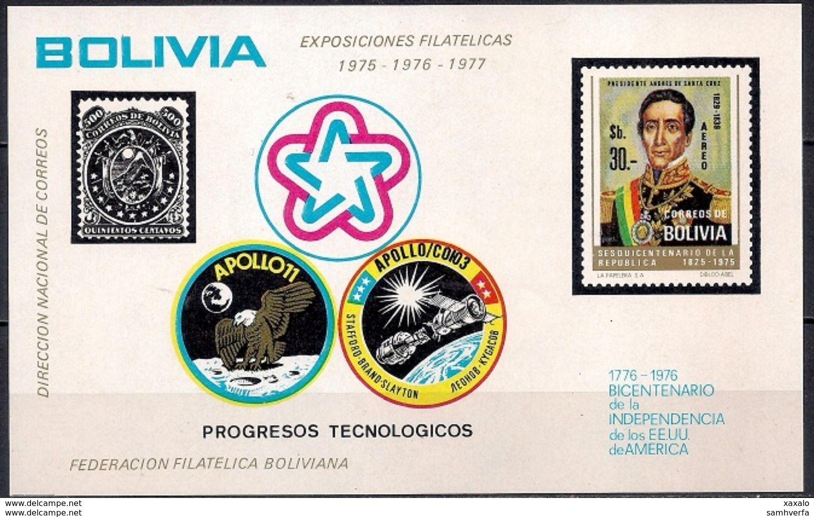 Space Weltraum - Block Bolivia 1975 (Cat. + 30 €) MINT - Bolivia