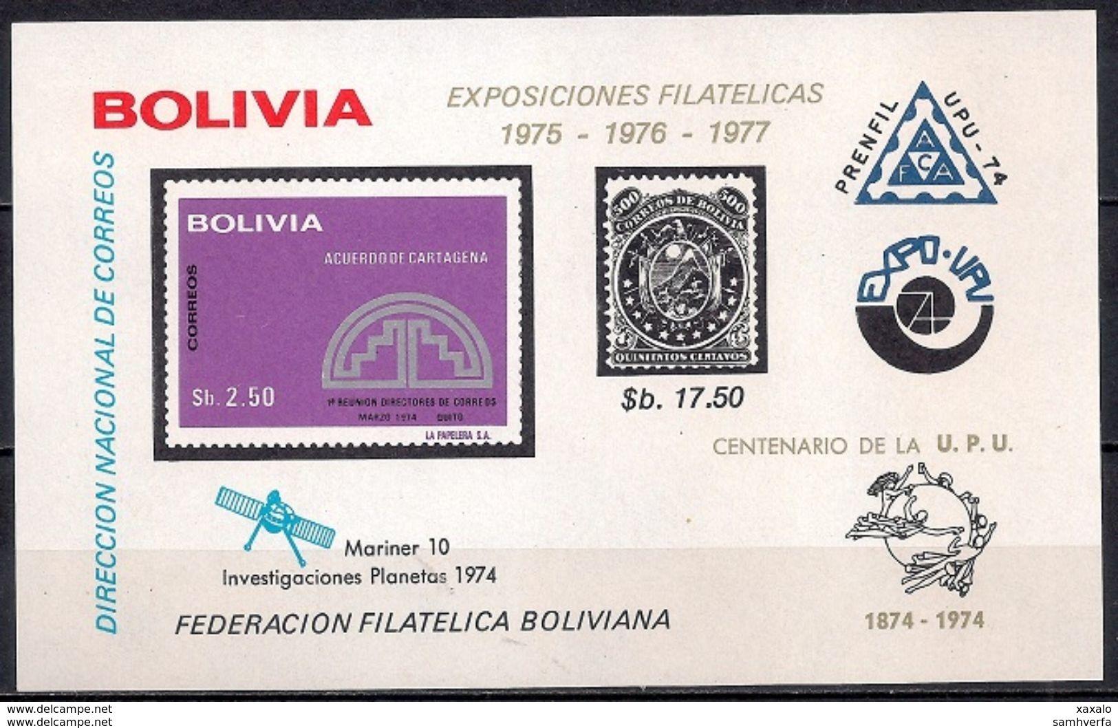 Space Weltraum - UPU - Block Bolivia 1975 (Cat. + 40 €) MINT - Bolivia