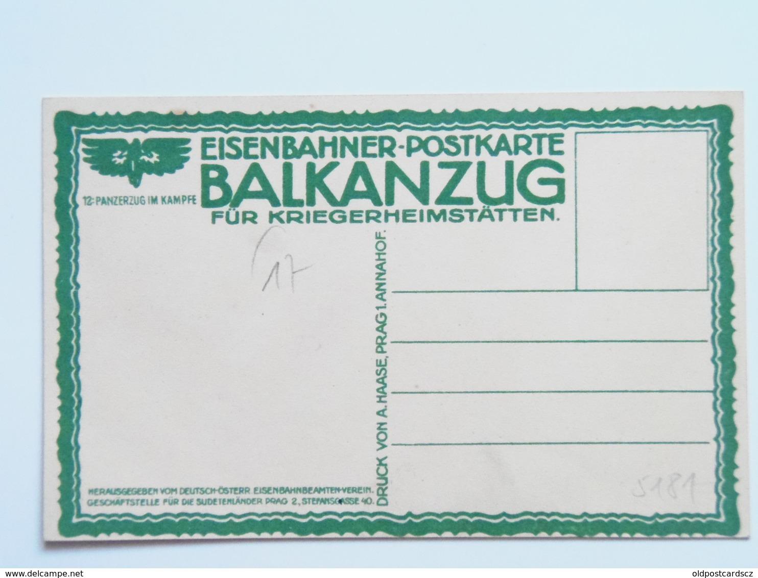 5181 Prima Guerra Pubblicitaria Militare 1916 Balkanzug Litho Treno Ed Hasse Prag Ferrovia Eisenbahn No 12 Panzerzug - Guerra 1914-18