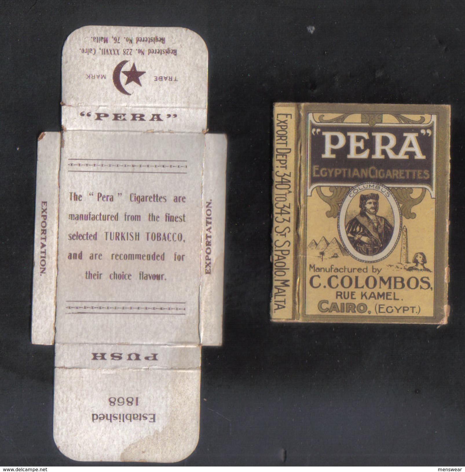 PERLA   LTD.CAIRO MALTA  PACKET OF 6 CIGARETTE - 1910 VERY RARE - - Empty Cigarettes Boxes